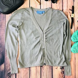 Simply Vera Linen Cotton Ruched Gray Cardigan  L